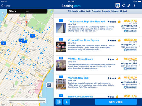 Booking.com app for ipad