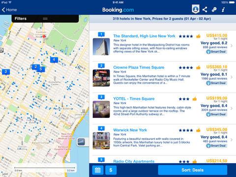 Booking.com app for ipad